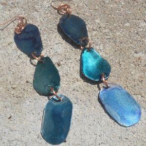 Long Blue Dangle Solid Copper Earrings Handmade
